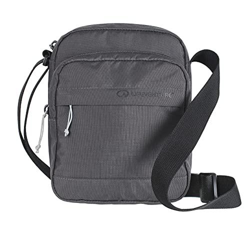 Lifeventure RFID Protected Crossbody Shoulder Travel Messenger-Style Bag, Eco-Friendly, Recyclable Material (Grey) Bolsa de Hombro con protección, Hecha Reciclado ecológico, Color Gris, Talla única