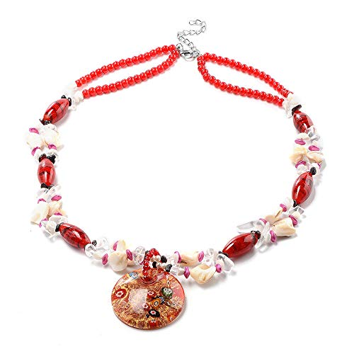 TJC Red Murano Beads, White Austrian Crystal, Red Garnet and Multi Gemstone Bead String Necklace Size 28' in Silver Tone