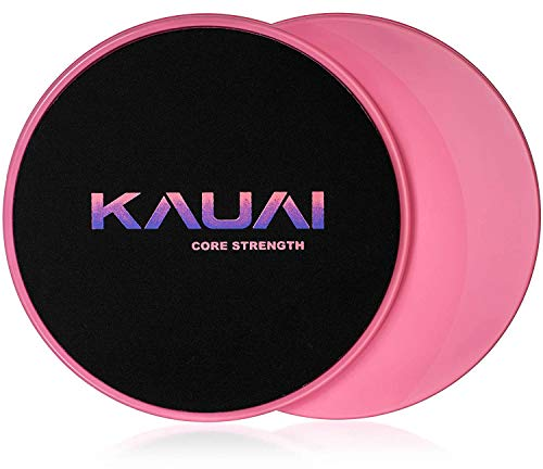 KAUAI Tummy Toner, Core Sliders Fitness Workout. Strength Gliders for Use on Carpet or Hard Floors - Fitness Equipment Floor Slides for Abs Full Body Training - 2 Discs & Carry Bag (Dance Pink)
