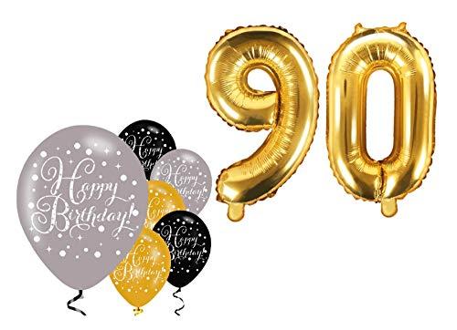 Feste Feiern Party-Deko zum 90. Geburtstag 8 Teile Set Zahlenballon Luftballon Folie Zahl 90 Gold Schwarz Silber metallic Dekoration Happy Birthday 90