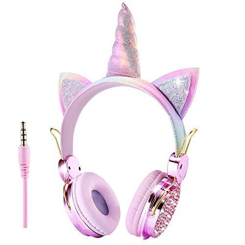 FLOKYU Unicorno Cuffie per Bambini Ragazze 85dB Glitter Regolabile Carine Wired Cuffie con microfono per Scuola/Natale/Feste (Rainbow- Unicorno)
