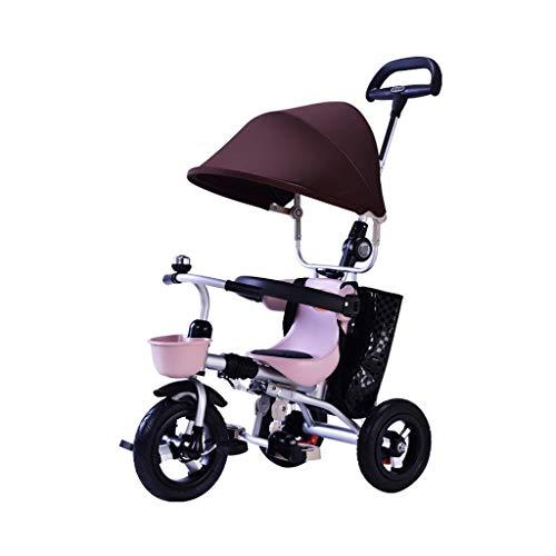LOMJK Carritos y sillas de Paseo 1-3 años de Edad, Triciclo de bebé Cochecito de bebé Plegable con Dosel Bolsa de Almacenamiento de Frenos Desmontable barandilla de Carro de bebé Bebé Sillas de