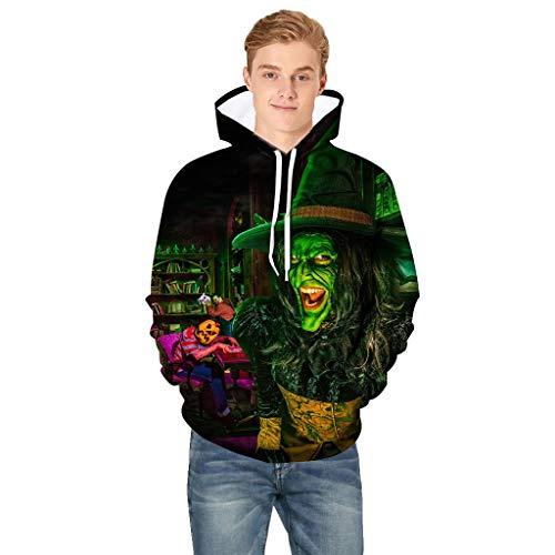 3D Kapuzenpullover Herren Halloween Pullover für Herren, Holeider Hoodie Herren Langarm Sweatshirt für Männer Casual Mode Unheimlich 3D-Druck Streetwear Kapuzensweater