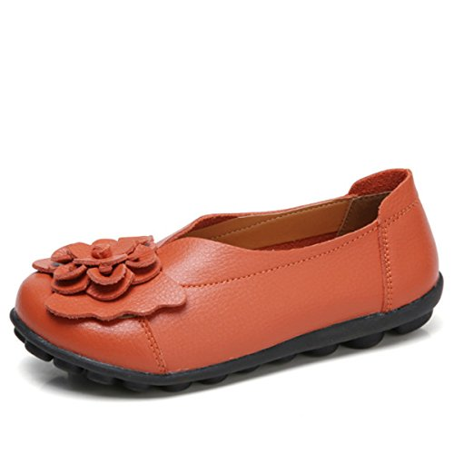 Socofy Slip On Leather Flat Shoes,Women's Outdoor Flower Decoration Handmade Casual Lazy Soft Loafers Orange 12 B(M) US