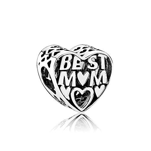 QWEILOY Pandora 925 Charm Silber Perle Beste Mo R Mode Damenarmband Armreif Geschenk DIY Schmuck