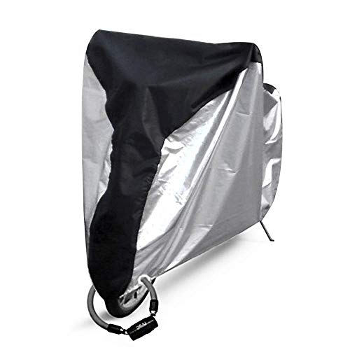 QSTT Bike Cover Outdoor Waterproof Bicycle Covers Rain Sun UV Dust Snow Protection Wind Proof with Lock Hole for Mountain Road Electric Bike,Silvery&Black XL