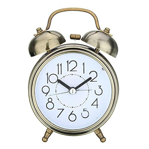 Aiong Reloj Despertador, Reloj Despertador Retro Creativo, Reloj Redondo de Bronce Antiguo, Doble Campana, Reloj Despertador Ruidoso, luz de Noche para cabecera