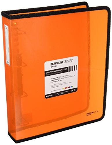 Grafoplas 30120652, Carpeta Anillas Naranja A4 +, Polipropileno, 4 Anillas de 40mm, Serie Blackline