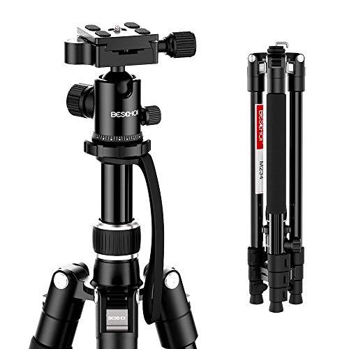 Beschoi Stativ Profi Kamerastativ Reisestativ leicht Videostativ aus Alu mit 360° Kugelkopf Schnellwechselplatte für Canon Nikon Sony DSLR Kamera