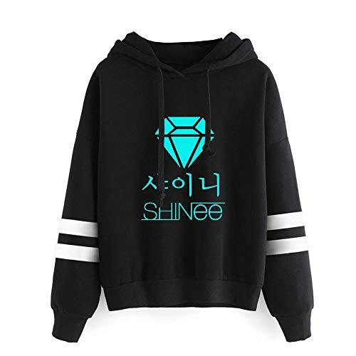 Vbggorgkjo Shinee Sudaderas Suéter de algodón Salvaje con un Top de algodón Minimalista Casual, suéter literario Shinee Abrigos (Color : Black02, Size : M)