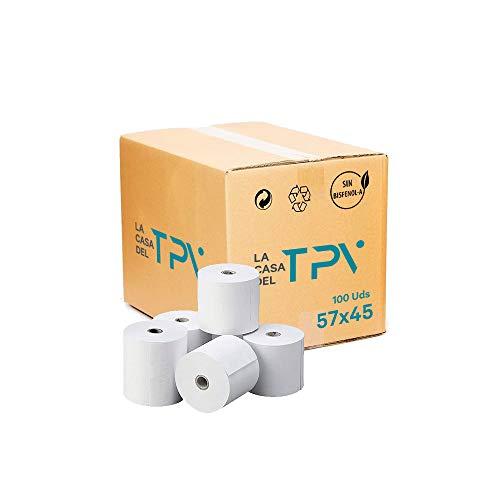 Caja de 100 rollo de papel térmico 57 x 45 mm Excelente papel. Sin biefenol-A, cajas registradoras, maquinas de tarjetas de credito.