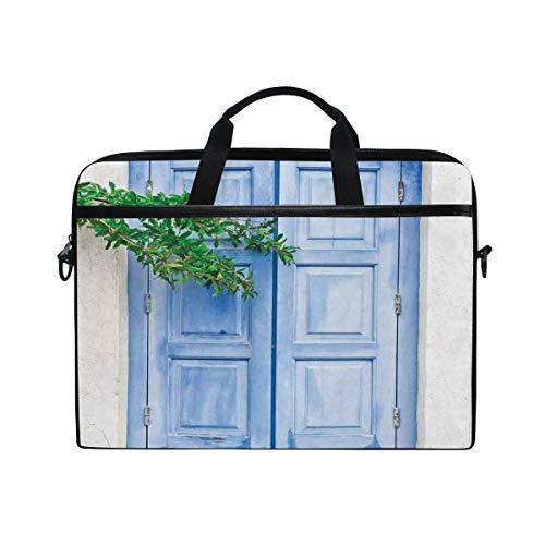 NR 15-15.4 Zoll Laptop Tasche Notebook Handtasche Umhängetasche Aktentasche,Mediterrane Fensterläden mit Baum Print Heritage Greek Island