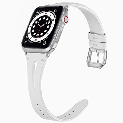 Miimall - Correa de reloj compatible con Apple Watch Serie 1, 2, 3, 4, 5, 6, SE, 44 mm, 42 mm, correa de piel para iWatch serie 1, 2, 3, 4, 5, 6, 42 mm, 44 mm, color blanco