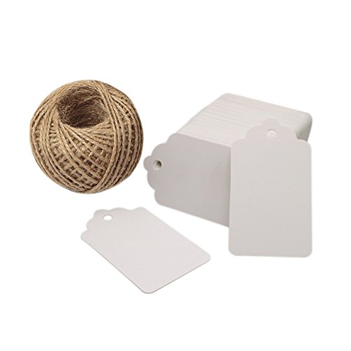 100 PCS Wedding Gift Paper Tags, 7CM * 4CM White Card Tags Crafts Hang Labels with Jute Twine 30 Meters Long for Christmas Decorations