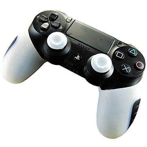 PS4SILICONE SKIN protección piel de fundas–Carcasa antideslizante para el mando de Playstation 4x 1+ thumb grip pulgar asas x 2 blanco blanco