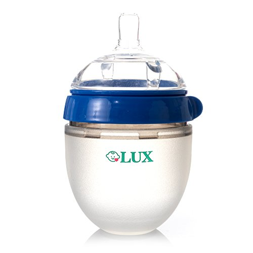 Baby Breastfeeding Nature Bottle by LUX – Slow Flow Newborn Feeding Bottle – BPA-Free Silicone – No Leak & No Waste Smart Design – Easy Transition – 5oz Slow Flow Nipple (Blue)