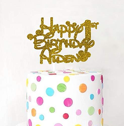 Decoración para tarta de Mickey Minnie con cualquier nombre   Decoración para tarta de cumpleaños   Decoración para cualquier nombre   Personalizable para tarta