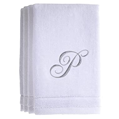 Monogrammed Towels Fingertip, Personalized Gift, 11 x 18 Inches - Set of 4- Silver Embroidered Towel - Extra Absorbent 100% Cotton- Soft Velour Finish - For Bathroom/ Kitchen/ Spa- Initial P (White)