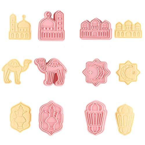 Tixiyu Moldes de galletas Eid Mubarak, cortadores de galletas 3D, moldes de silicona para galletas para fondant, herramientas para decoración de fiestas