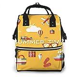 Jojoshop - Mochila para pañales, diseño de iconos de viaje amarillos, multifunción, gran capacidad, impermeable y elegante