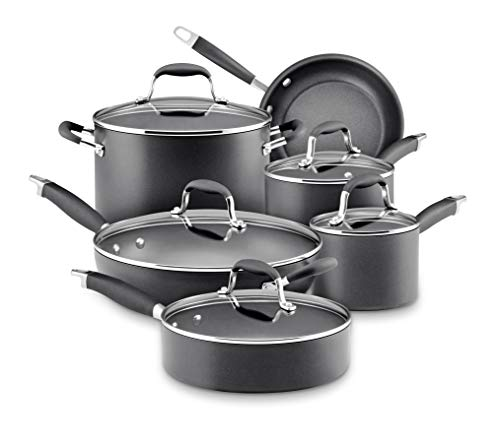 Anolon 82676 Advanced Hard Anodized Nonstick Cookware Pots and Pans Set, 11 Piece, Graphite