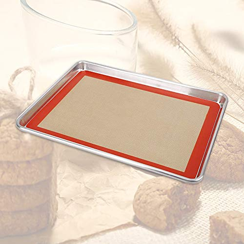 KOBSAINF Baking Sheet with Silicone Baking Mat Stainless Steel Cookie Sheet Baking Pan for Macaroon Pastries Cookies Brownies Making