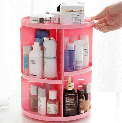TKFY 360 degré Rotation Maquillage Organisateur Diamant décoration Make up Stockage cosmétiques parfums présentoirs boîte à Coucher Salle de Bain et Salon Rose