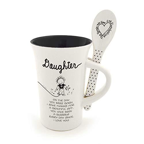 Enesco Children of the Inner Light Daughter Coffee Mug and Spoon Set, 12 Ounce, White
