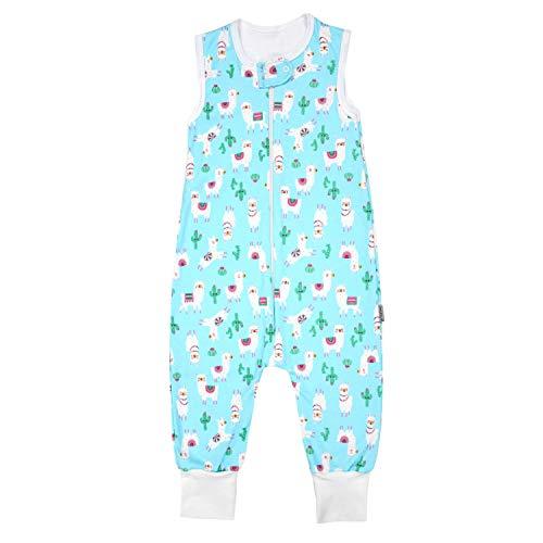 TupTam Unisex Babyschlafsack mit Beinen Unwattiert, Farbe: Lama/Türkis, Größe: 80-86
