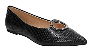 Dejavu Snake Embossed Faux-Leather Metal Detail Flat Ballerina Shoes for Women