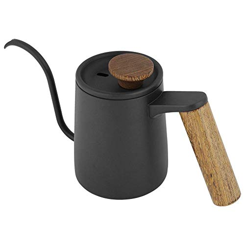Cafetera - 350ml Moda Acero inoxidable Mango Goteo Largo cuello de cisne Pico Hervidor Negro