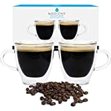 GROSCHE Turin Double Walled Glass Espresso Cups, 2.35 fl oz, Demitasse Espresso cups, Insulated Double Walled Glass Espresso Cups, Set of 2, (Glass espresso cups with Handle)