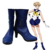BELUNOT Anime Sailor Moon Tenoh Haruka/Sailor Uranus Cosplay Shoes Blue Boots Custom Made 42