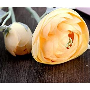 Artificial and Dried Flower 58cm Artificial Ranunculus Asiaticus Flower Bundle Fake Persian Buttercup Silk Tea Rose Decorative Flowers Bouquet – ( Color: Yellow )