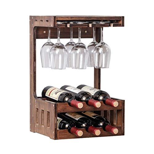 Z&HAO Botellero De Madera, Botellero Montado En La Pared, 6 Botellas De Mostrador para Botellas De Vino, Estantes De Exhibición De Vino De 2 Niveles con 6 Rejillas De Secado para Copas De Vino