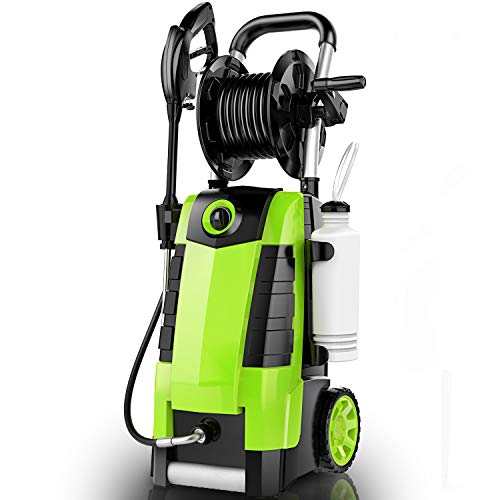 TEANDE 3800PSI Electric Pressure Washer, 1800W 2.8GPM Power Washer with Hose Reel, Spray Gun, Quick Connect Nozzles (Green)