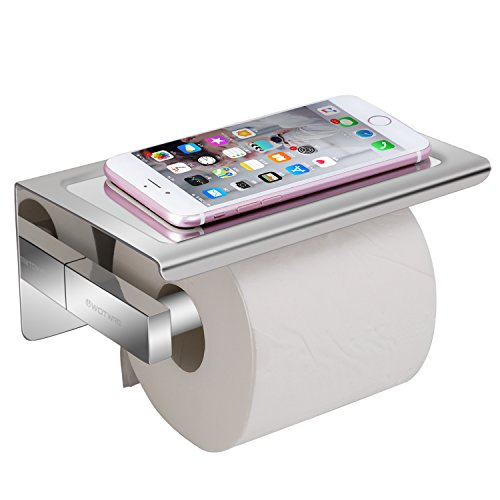 Toilet Roll Holder Wall Mounted -304 Stainless Steel Toilet Paper Holder Self Adhesive, Bathroom Chrome Toilet Roll Holder No Drilling with Phone Storage Shelf Stand(Sliver)