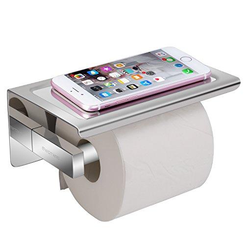 Worldwell Wand montiert selbstklebend Badezimmer Papier-304poliert WC-Rolle Aufbewahrung mit Mobiltelefonen Halterung Ständer, Edelstahl Stahl, Silber