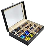 E-MANIS Brillenbox mit Schaufenster aus Glas für 8 Brillen Brillendisplay Brillenorganizer Brillenaufbewahrung / Präsentation, 33.5 x 24.5 x 8.5 cm Sonnenbrillen Präsentation, Kunstleder Schwarz