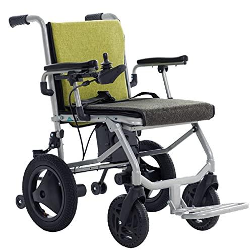 FANGX Silla de Ruedas eléctrica portátil para discapacitados, Controlador Dual, con baterías...