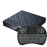 Android 9.0 TV Box con Mini Teclado Inalámbrico Retroiluminado, TV Box S905x3 Quad-Core Arm Corter-A53 CPU Mali G31 MP2 GPU 8K Resolución 2.4Ghz / 5Ghz WiFi BT5.0,4gb+64gb