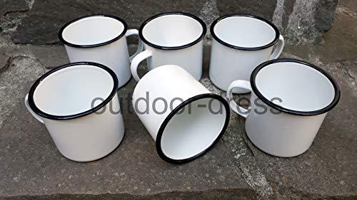 Nachtsheim Versandhandel 6er Pack Emailtassen Email-Tasse Westernbecher weiß schwarz 0,35 Liter Campingtasse Becher