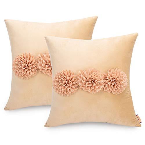 Tayis Terciopelo Fundas de Cojines 45x45cm, Suave Funda de Almohada Decorativopara con Flores Florales,Almohada Caso de Decorativo Cojines para Sala de Estar sofá (45 x 45cm, Caqui)