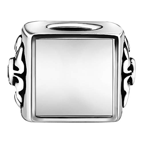 BXT Personalized Photo Pendant-925 Sterling Silver Square Shape Good Luck Charms for Necklace/Bracelet,Birthday Valentines Day Xmas Gift for Girlfriend