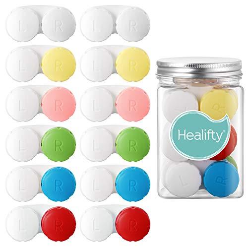 Healifty Kontaktlinsenbehälter – mit Kontaktlinsen-Stick-Werkzeugkoffer-Set – buntes Kontaktbehälter, Behälter, Aufbewahrung für links/rechtes Auge (12 x Kontaktbehälter + 2 x Einlagen + 2 x Pinzette)