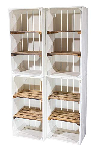 4X Vintage-Möbel 24 Weiße Holzkiste mit 2 geflammten Mittelbrettern 68cm x 40cm x 31cm Zwischenbretter flambiert Obstkiste Weinkisten Klassisch Schuhregal Bücherregal Kistenregal Holz Boxen