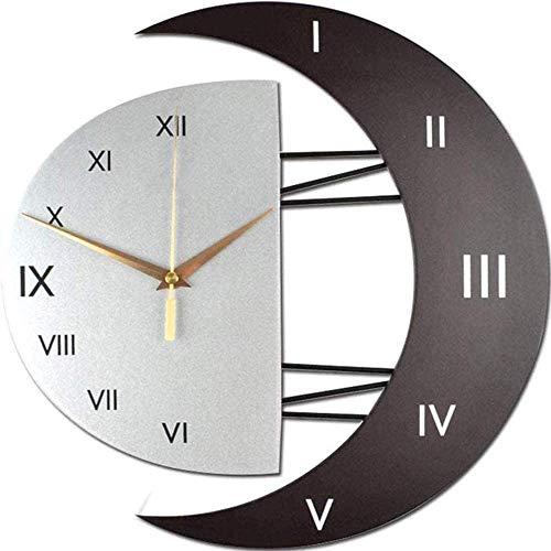 Orologio da Parete in legno Silenzioso 46cm Preciso Parete Moderno Adesivo Orologio Parete Decorazione Sole e Luna Wall clock per Casa, Ufficio, Hotel