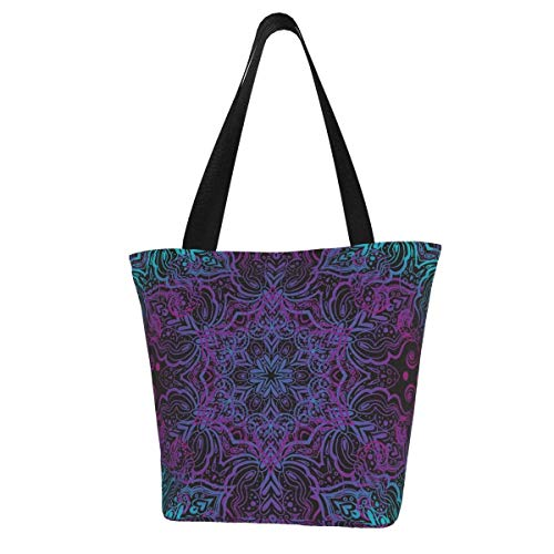 Personalised Canvas Tote Bag,Seamless Oriental Ornament In The Style Of Baroque Washable Handbag Shoulder Bag Grocery Bags Shopping Bag for Women