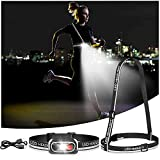 Rechargeable Headlamp , 500Lm LED Headlamp&Chest Light, Night Running Light for Runners, Head Lamp with Reflector Strap, 5Modes Waterproof Headlight, Suit for Kids(USB-C Fast Charge)