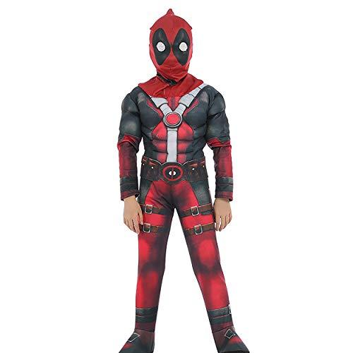 Deadpool Cosplay Halloween Costume Kids Roleplay Boys Outfits Children Superhero Costume Set Red